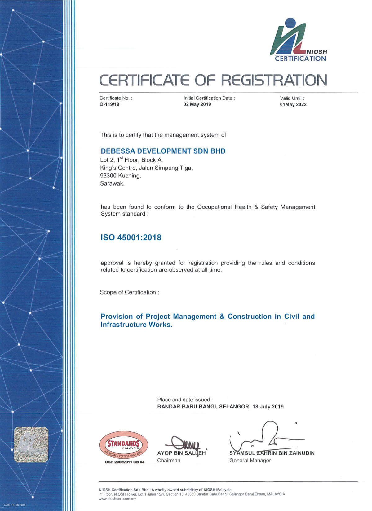Provision of Project Management & Construction in Civil and Infrastructure Works - ISO 45001:2018
