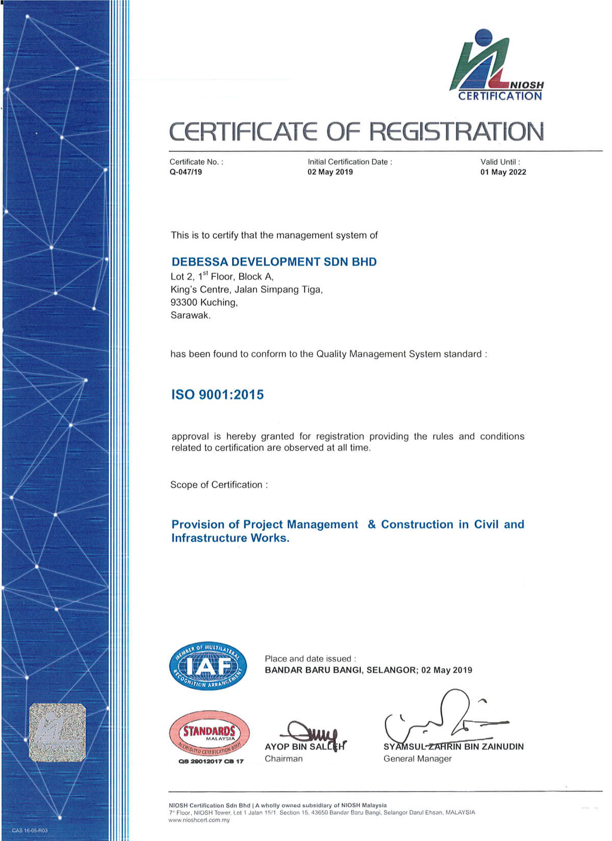 Provision of Project Management & Construction in Civil and Infrastructure Works - ISO 9001:2015